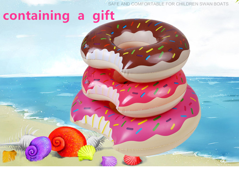 swimming pool inflatable Circle kids inflatable raft summer toys the water baby lifebuoy Sweet Dessert Doughnut gift pump circle