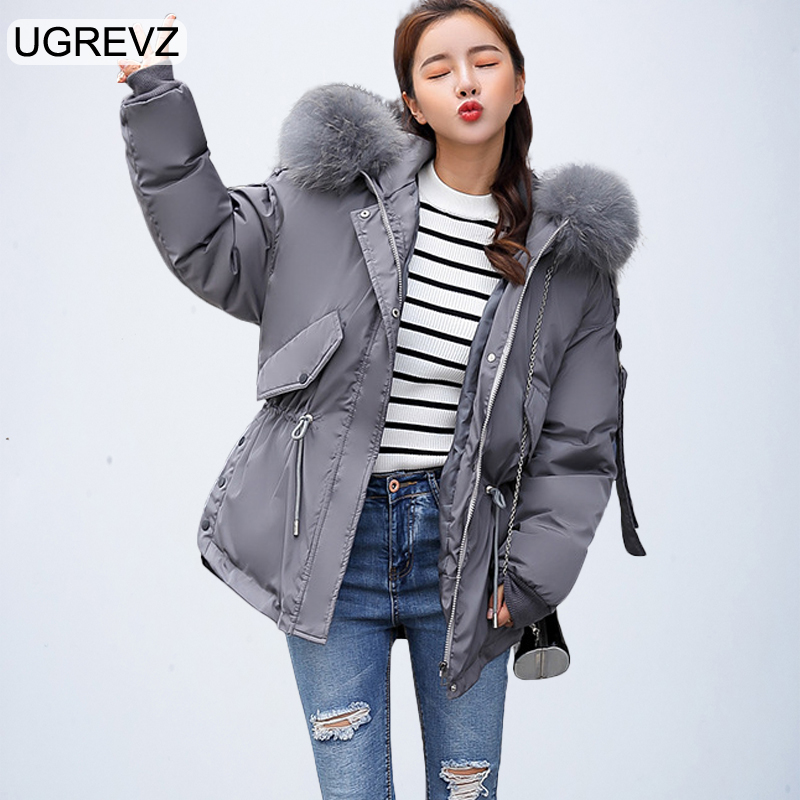Fashion 2018 Hooded   Parkas   Female Short Winter Jacket Women Winter Coat Girls Loose   Parka   Fur Collar Cotton Padded Jackets Gray
