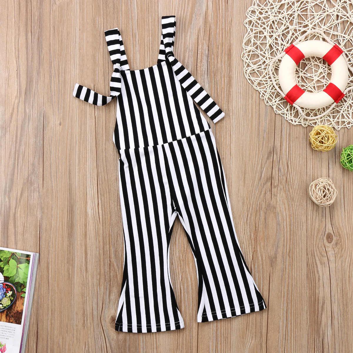 2018 nuevo niño Infante niños bebés niñas mono a rayas pantalones mameluco campana Bottoms trajes sin mangas 6 M-5 T