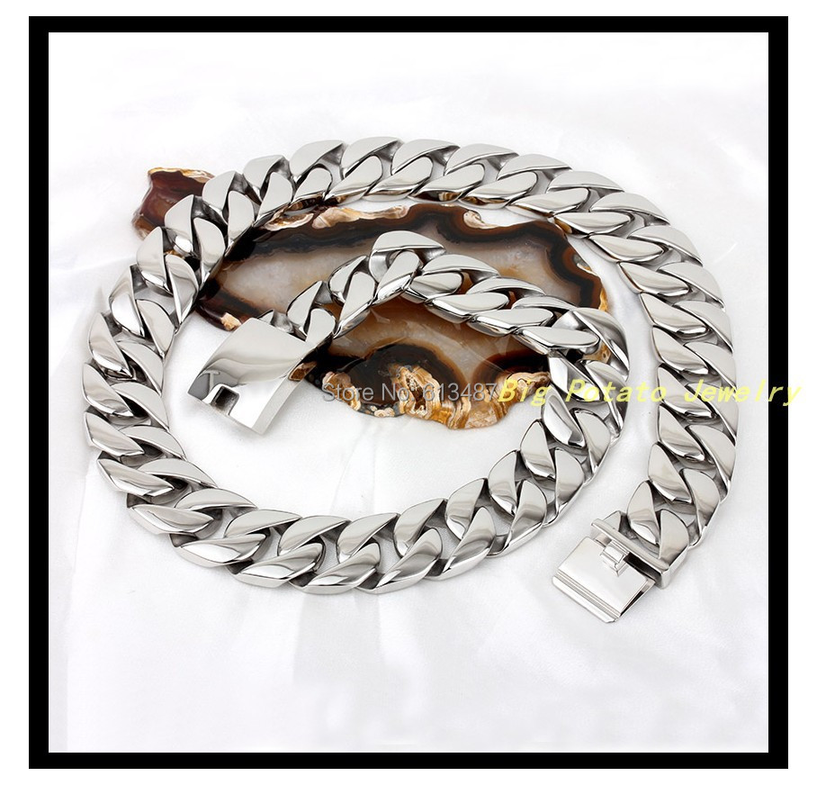 28.3(72cm)*24mm 520g New Hot Fashion Silver Stainless Steel Highly Polished Link Chain Mens Or Boys Necklaces,Best Quality28.3(72cm)*24mm 520g New Hot Fashion Silver Stainless Steel Highly Polished Link Chain Mens Or Boys Necklaces,Best Quality