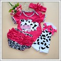 hot sell newborn baby girl clothing set Ruflled Kids Clothes Romper Leg warmer Headbands Bloomer cartoon cow 4pcs roupas de bebe