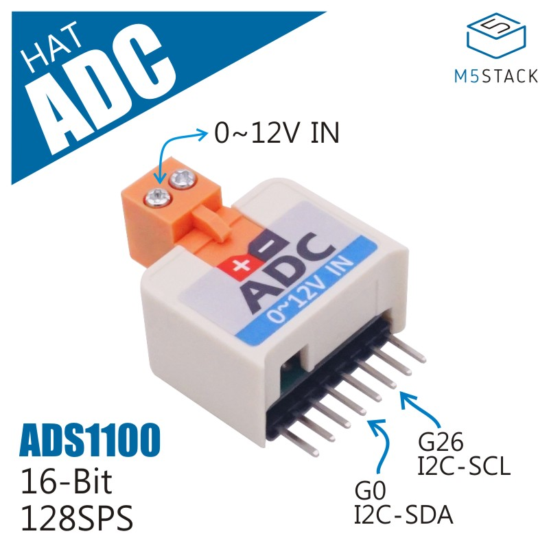 M5StickC ESP32Mini IoT Development Board Compatible ADC HAT (ADS1100) For Analog Signal Capture Converter