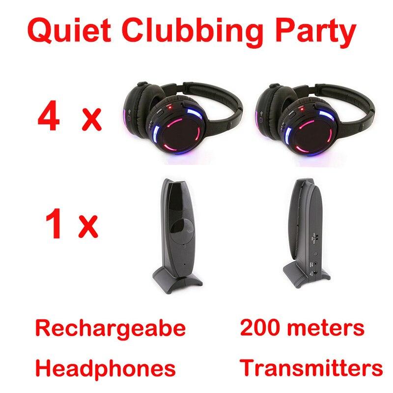 Silent Disco compete system black led wireless headphones - Quiet Clubbing Party Bundle (4 Headphones + 1 Transmitters)Silent Disco compete system black led wireless headphones - Quiet Clubbing Party Bundle (4 Headphones + 1 Transmitters)
