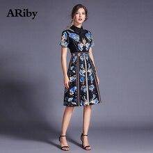 купить ARiby Fashion Women Elegant Slim Floral Printed Black Dress 2019 Summer Vintage Short Sleeve Stand Neck A-Line Knee-Length Dress по цене 1498.02 рублей