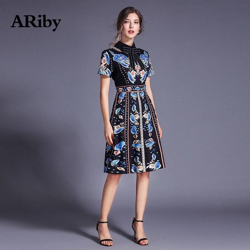 ARiby Mode Frauen Elegante Dünne Floral Gedruckt Schwarz Kleid 2019 Sommer Vintage Kurzarm Stehen Neck A Line Knie Länge kleid-in Kleider aus Damenbekleidung bei  Gruppe 1