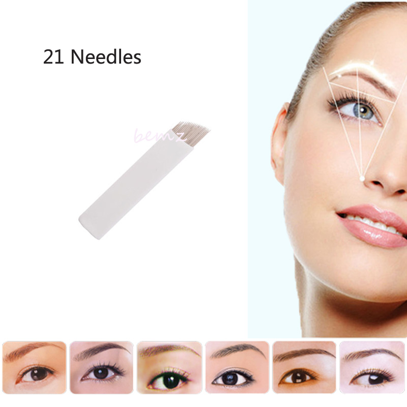 50pcs 21pin Sterilized Stainless Steel 3d Tattoo Embroidery