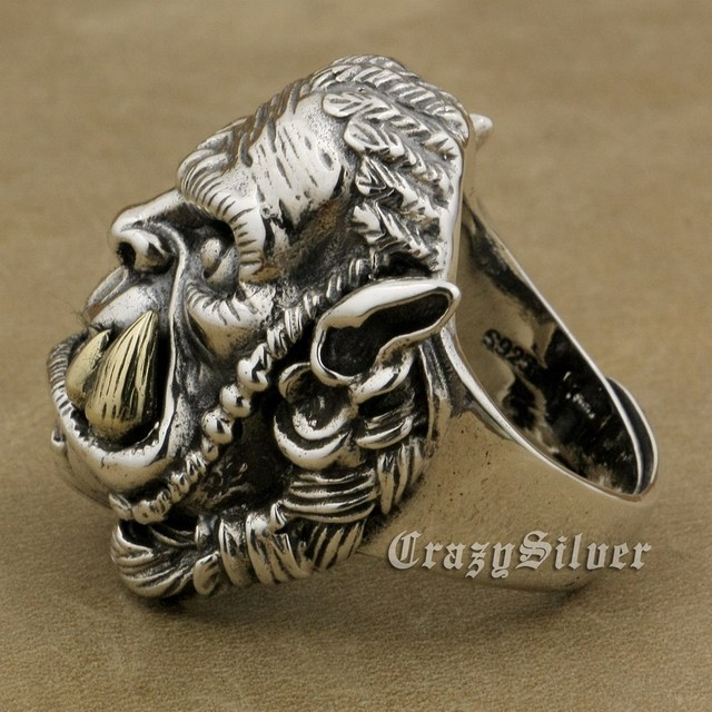 LINSION 925 Sterling Silver Tribe Durotan Ring Brass Tooth Mens Biker Rock Punk Style 9M016 US Size 8 to 12
