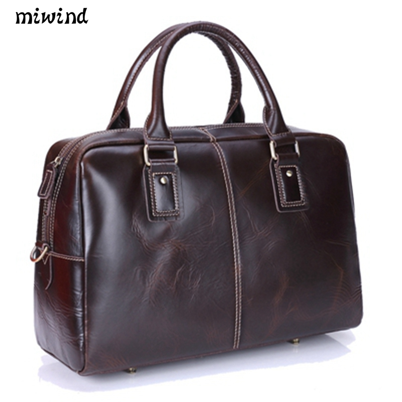 High Quality Oil Wax Genuine Leather Men Bag messenger bags vintage large capacity shoulder bag fashion Satchel Diagonal