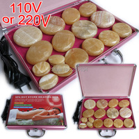 New type! 20pcs/set Hot stone body massager yellow Jade Salon SPA with heater bag CE and ROHS