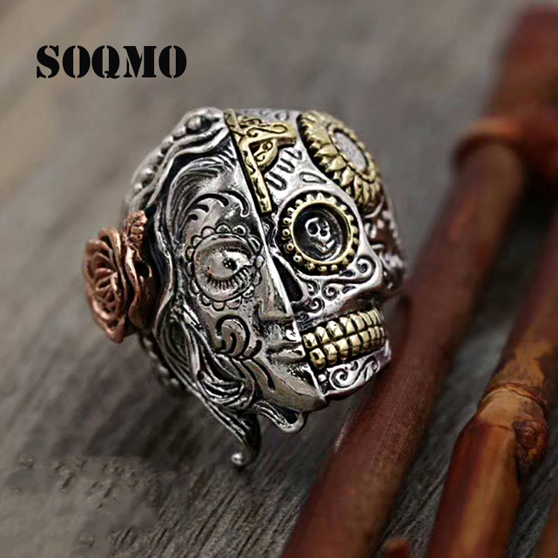 SOQMO PUNK Buddha Ring 100% Real 925 Sterling Silver Two Face Devil Skull Vintage friendship rings infinity women men jewelry SOQMO PUNK Buddha Ring 100% Real 925 Sterling Silver Two Face Devil Skull Vintage friendship rings infinity women men jewelry