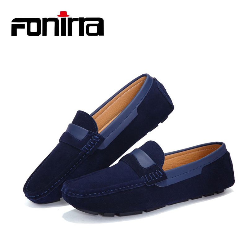 FONIRRA Men Loafers Summer Cool Autumn Winter Men's Flats High Quality Genuine Leather Shoes Moccasins Metal Driving Shoes 179