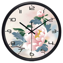 Hot Sale Indoor/Outdoor Artistic Study Room Peony Flower Wall Clock Novelty Hold Number Watch
