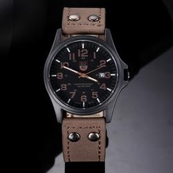 Quartz Watches Men SOKI Fashion Simple Wrist Watches Imitation Leather Strap Military Campaign Calendar Watch Wholesale