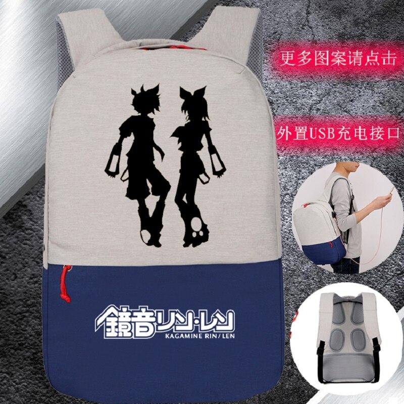 New designed High Q  anime Hatsune miku printing backpacks  unisex waterproof USB charge backpack for student New designed High Q  anime Hatsune miku printing backpacks  unisex waterproof USB charge backpack for student