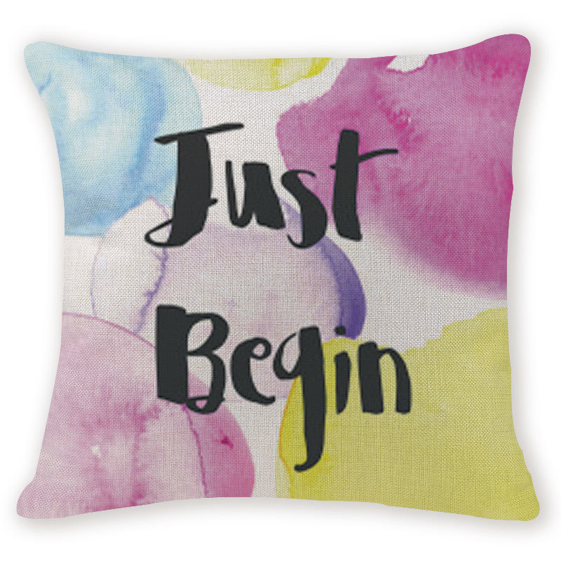 Gift Cushion Cover Patchwork Geometry Watercolor Love Pillowcases Sofa Seat Rectangle Burlap Home Office Furniture Kussenhoes