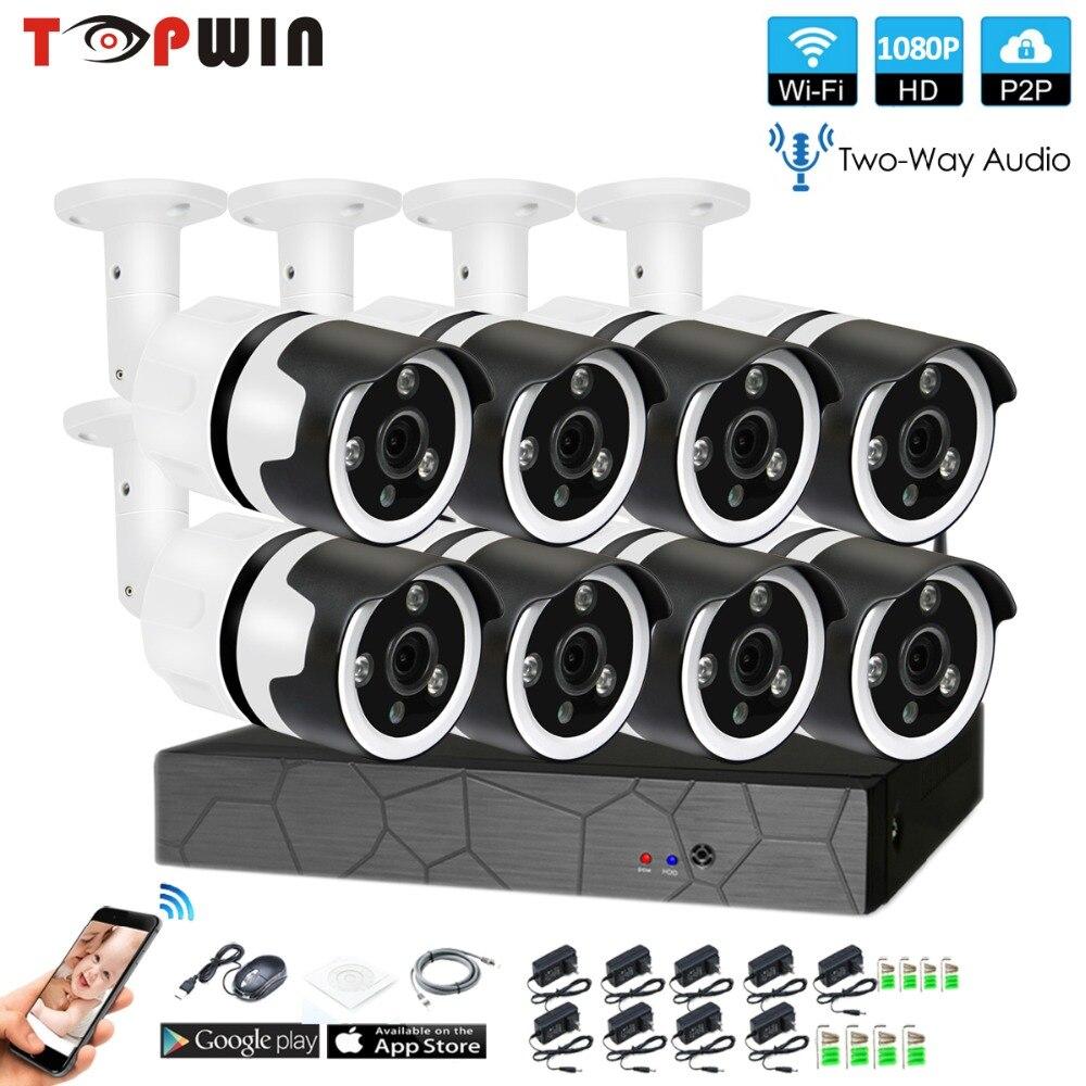 8CH audio bidireccional hablar HD inalámbrico Kit NVR P2P 1080 p interior al aire libre IR visión nocturna de seguridad 2.0MP IP cámara WIFI CCTV sistema