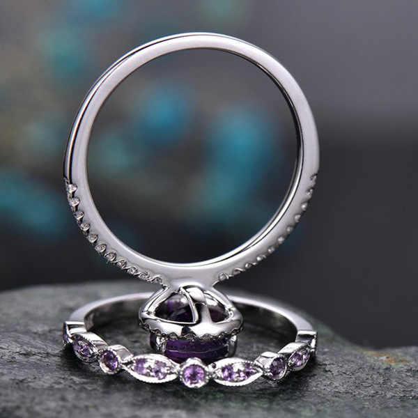 หญิงหรูหราสีม่วงน้ำหยดแหวนชุดแฟชั่น 925 Silver Love แหวนหมั้นแหวนแต่งงาน VINTAGE