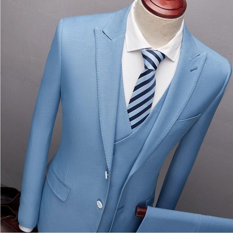 Business Kleid Stück Gray 3 Jacke Blazer Männer blue männer Anzüge Gray Schlanken Boutique Hose Anzug Weste Weste Light dark Sets Mantel Hochzeit n4wgUc4qYB