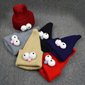 Big Eyes Kids Cute Wizard Hat Fashionable Baby Boys Girls Knitted Caps 7 Colors Winter Warm Children Christmas Hat