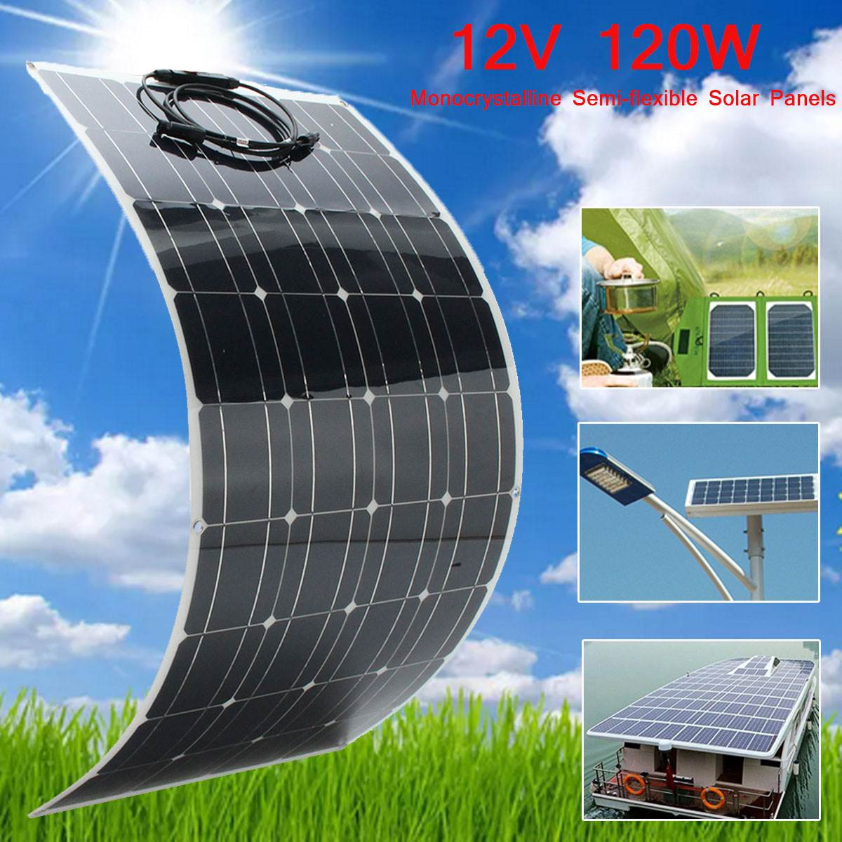 KINCO 120W 12V Semi Flexible Monocrystalline Solar Panel Waterproof High Conversion Efficiency For RV Boat Car + 1.5m Cable