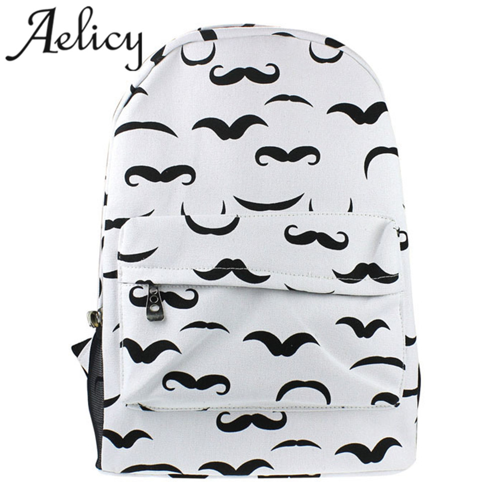Moustache Printing Backpack Canvas Teenage Girls School Bag Travel Backpack