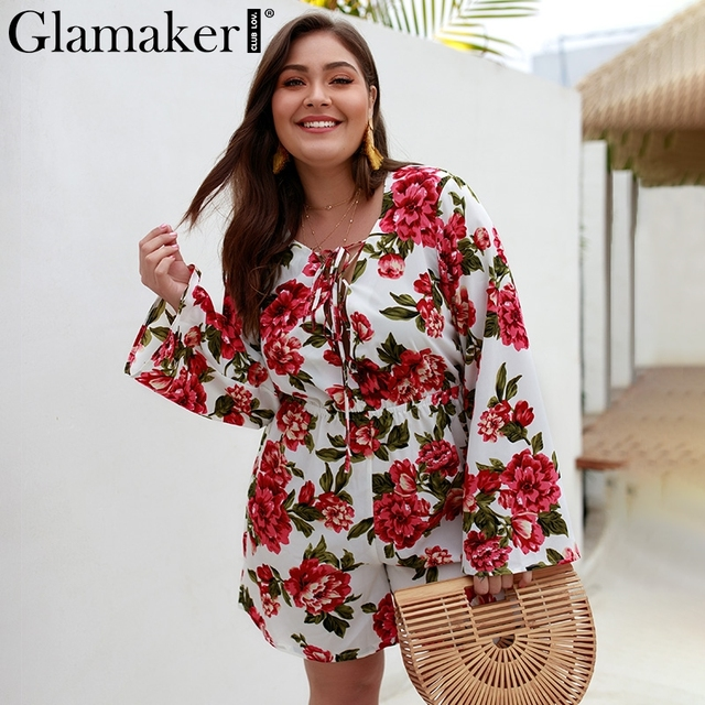 Glamaker Sexy black floral playsuit Women summer lace up short jumpsuit Ladies long flare sleeve beach larger size playsuits new