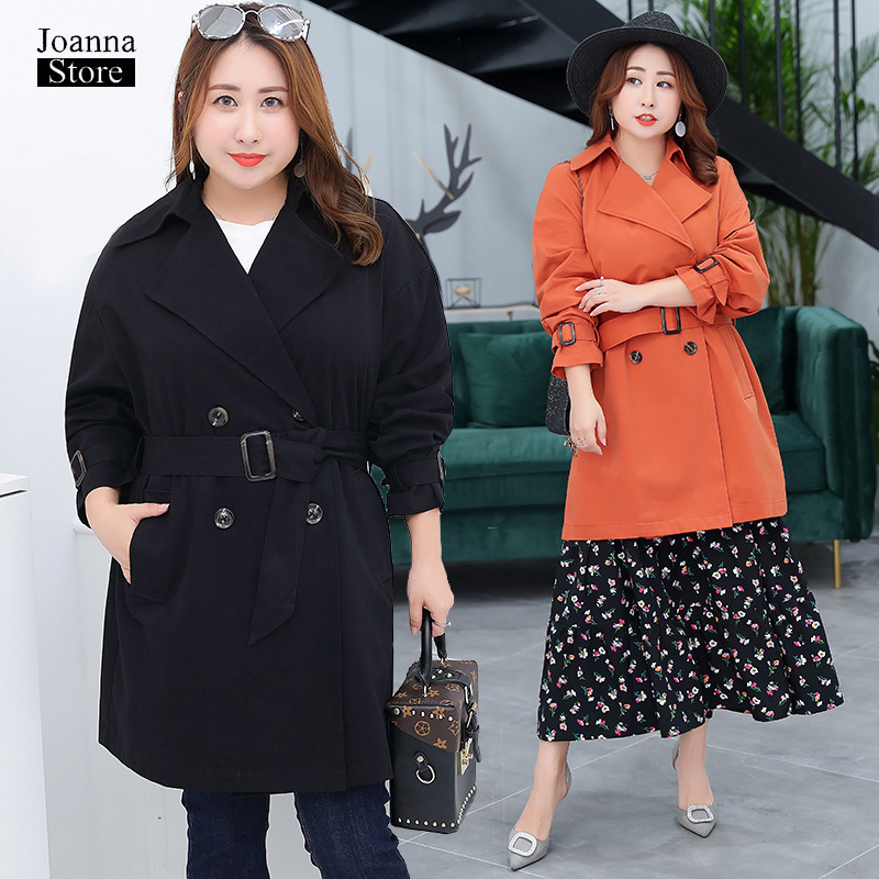 Obese women custom   trench   coat plus size double breasted coats classic vintage elegant streetwear long loose orange hot clothes