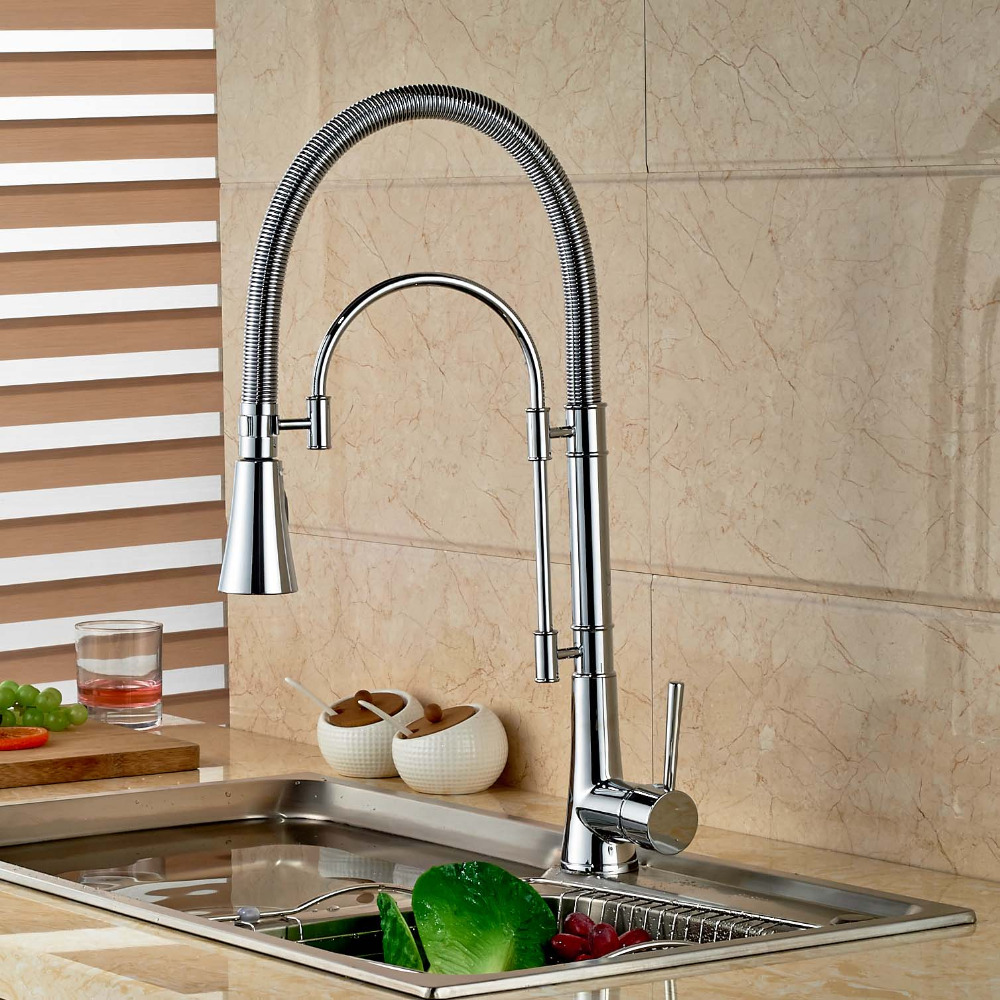 Chrome Brass Spring Kitchen Faucet Swivel Spout Vessel Sink Mixer Single Handle Hole Sink Mixer Tap chrome brass kitchen faucet spring vessel sink mixer tap hot and cold tap swivel spout single handle hole