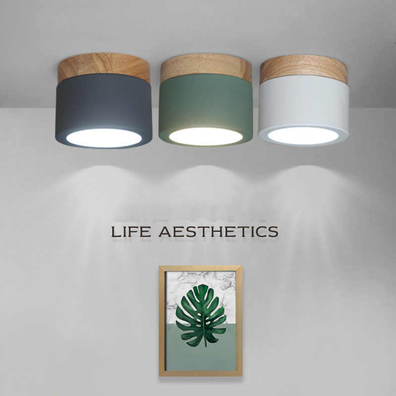 LED Ceiling light Modern Simple Ceiling Lamp for Living room Nordic Wood Ceiling Light Hallway Aisle Corridor Round Down Lamp