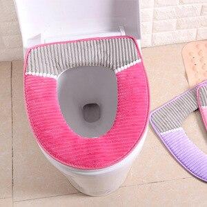 Image 1 - 38 cm X 43 cm velours cuir lavable doux coussin de toilette tapis de toilette épais tricoté accessoires de salle de bain Standard housse de siège de toilette