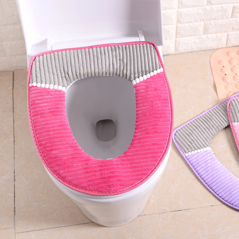 38cmX43cm Velvet leather Washable Soft Toilet Cushion Toilet Mat Thick Knitted Bathroom Accessories Standard Toilet Seat Cover-in Toilet Seat Covers from Home & Garden