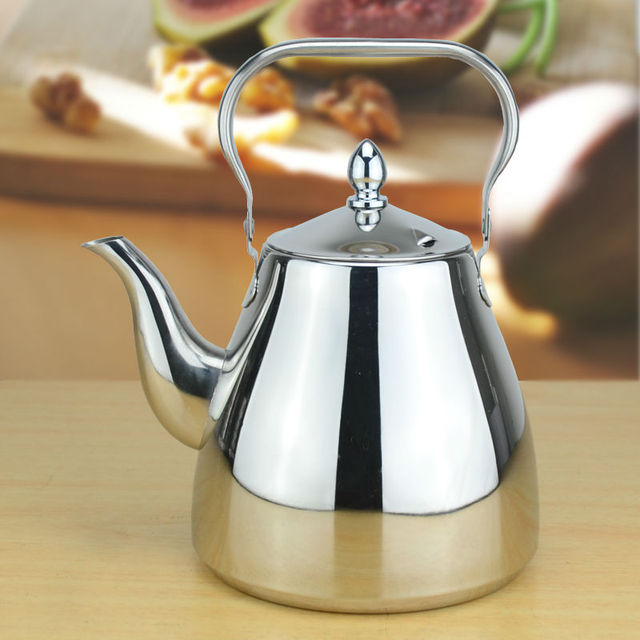 Sanqia high quality simple style stainless steel lift pot metal teapot with filter tea kettle with strainer infuser 1