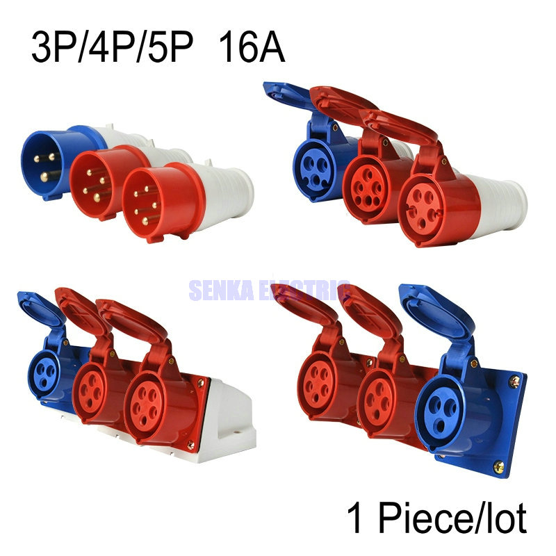 AC 220-250V AC 380-415V 16A IEC309 IP44 Industrial Socket / Plug 3Pin/4Pin/5Pin Waterproof Male Famale Connector high quality ac 360 415v 16a ie 0140 4p e free hanging industrial plug red white