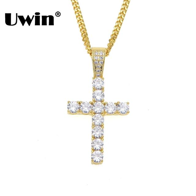 Uwin Luxury Mens Full Crystal AAA CZ Cubic Zirconia Cross Charm Pendant 24inch Cuban Link Necklace Fashion Jewelry Dropshipping