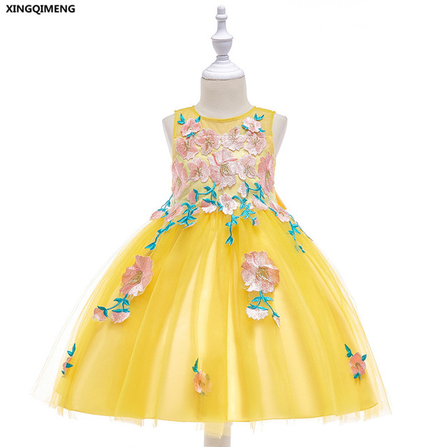 In Stock Yellow Short Appliques Flower Girl Dresse 3 10y White