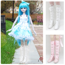 1/3 BJD Dolls Shoes - Suede Jackboot Lace up Flat Boots Princess for Night Lolita Winter Dress-up Accessory