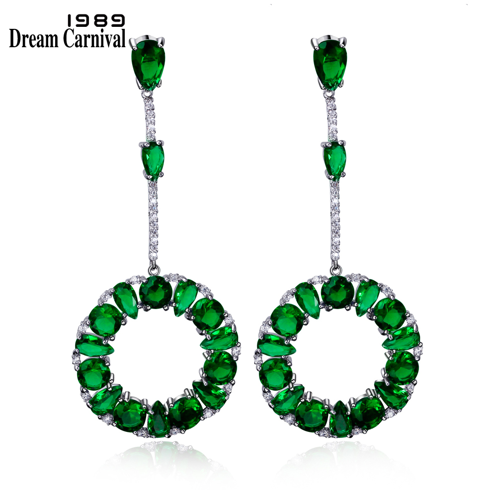 DreamCarnival 1989 Romantic Blue Green Clear Purple Red Colors Sparkling CZ Dangle Earrings for Women Rhodium or Gold Color Moda
