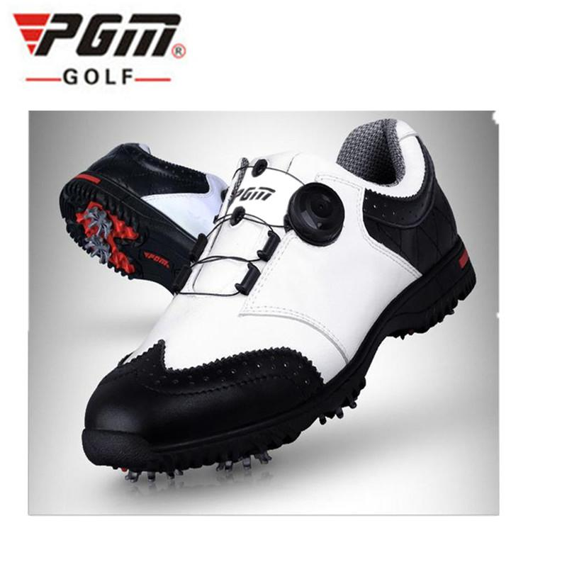 PGM 2017 New  Genuine leather Breathable Waterproof Golf Shoes Men Movable soft spike golf shoes with laces rotating device genuine pgm golf shoes men waterproof xz937 rubber cotton fabric eva breathable beginner white zapatos de golf deporte golf shoe