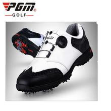 PGM 2017 New Genuine leather Breathable Waterproof Golf Shoes Men Movable soft spike golf shoes with laces rotating device