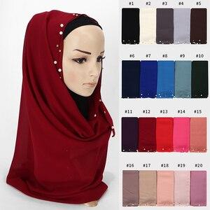 Image 2 - Phụ Nữ Bong Bóng Khăn Voan Trắng Hạt Khăn Choàng Hijab Ngọc Trai Vàng Đầu Bọc Hồi Giáo Dài Khăn 180*75Cm 10 cái/lốc 20 Màu