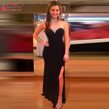 High Neck Schwarz Abendkleid 2016 Kristall Perlen Side Split Abendkleider Sleeveless robe de soiree vestidos de festa Z129