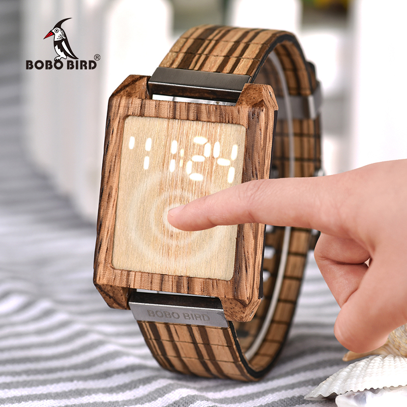 BOBO BIRD Touch Panel Digital LED Display Men Watch Women Watches relojes para hombre with Wood gifts Box Relogio Masculino bobo bird men s wooden watch with all wood strap quartz analog with diamond relojes hombre gifts in wood box custom logo
