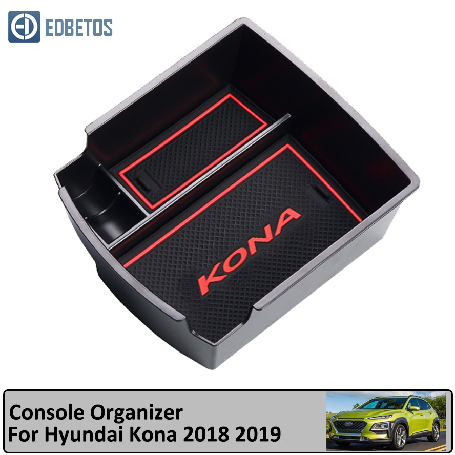 Armrest Storage Box For Hyundai Kona Encino 2018 2019 Accessories Center Console Container Bin Tray Holder Stowing Tidying