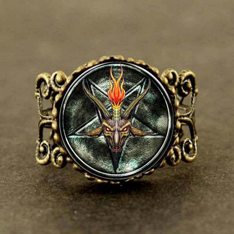 Steampunk Baphomet Inverted Pentagram Statement goat head Ring Satanism doctor who 1pcs/lot women mens vintage ...