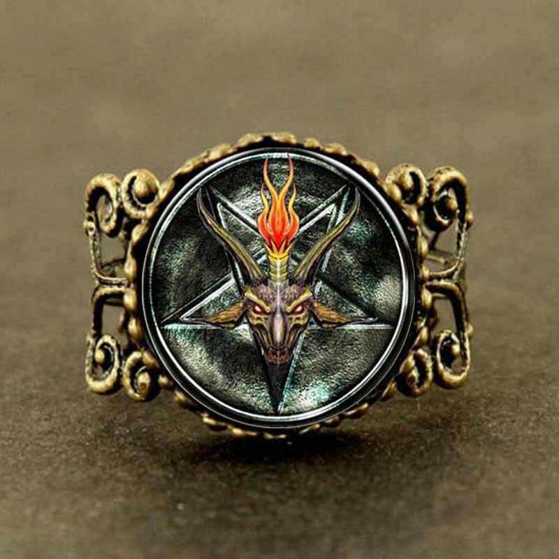 Steampunk Baphomet odwrócony Pentagram oświadczenie koza pierścionek satanizm lekarz, który 1 sztuk/partia kobiety mężczyzna w stylu vintage
