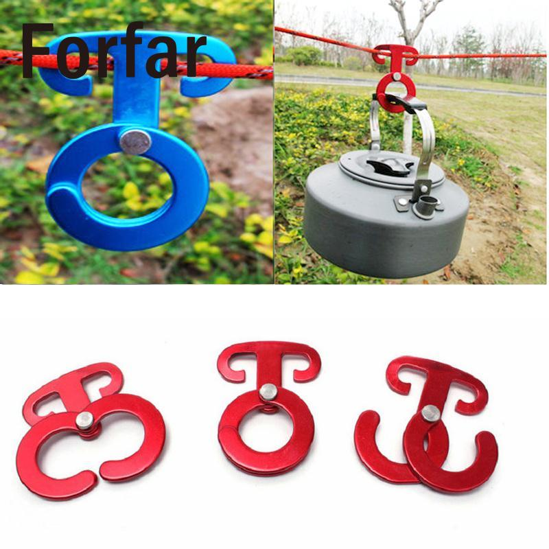 Forfar Rope hanger Buckles Tent Pegs Camping Wind Ropes Engaging Pocket tools indispensable Random Color