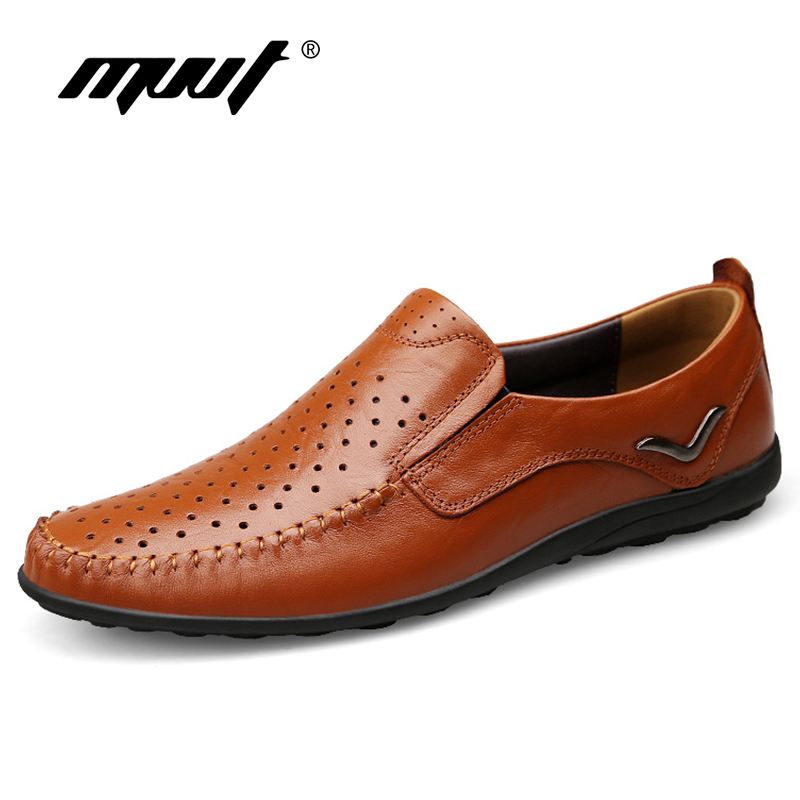 Quality genuine leather shoes men flats breathable summer casual shoes men dress shoes  plus size comfort men oxfords