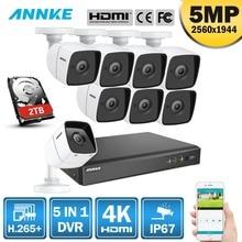 ANNK H.265 + 5MP Ultra HD 8CH видеорегистратор CCTV Системы 8 шт Открытый 5MP EXIR Ночное видение Камера металла комплект видеонаблюдения