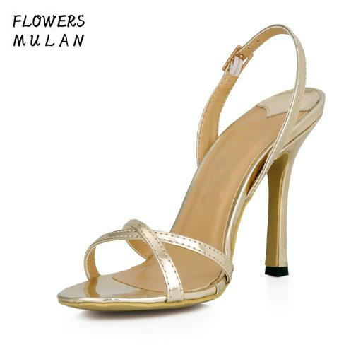 Solid Gold Silver Concise Narrow Band Women Sandals Shoes Two Cross Buckle Upper Lady High Heels Gladiators Plus Size Stilettos