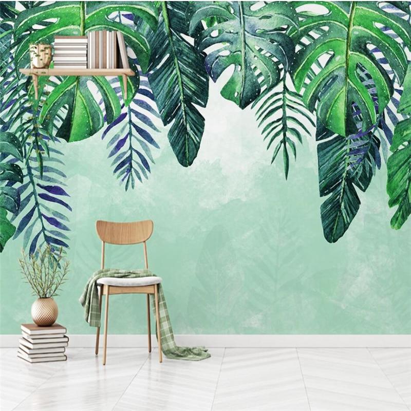 Beibehang Nordic Минималистский ручная роспись свежий тропические листья ТВ диван стены Пользовательские Большие Настенные обои Papel де Parede